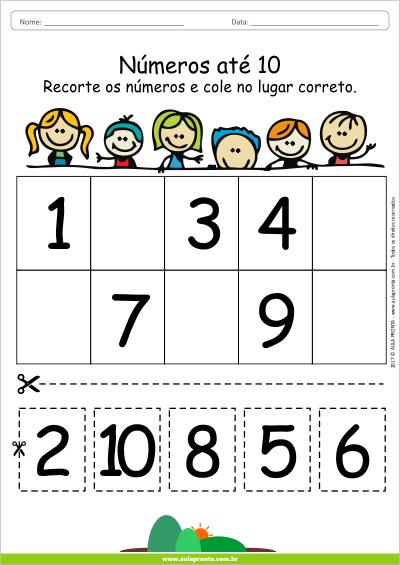 Atividade de Matemática pronta para Imprimir - Números até 10