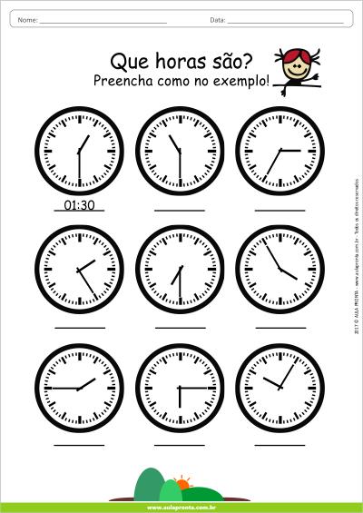 Atividade de Matemática pronta para Imprimir - Que horas são - Ensino Fundamental