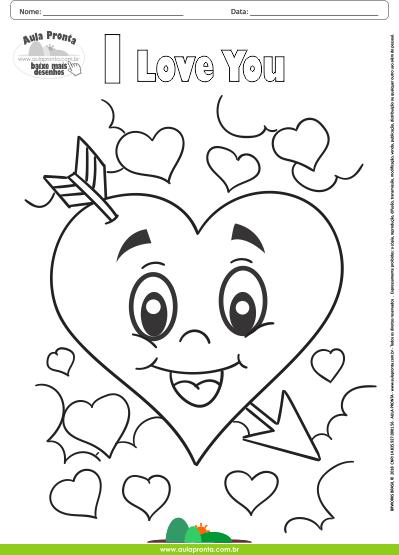 Desenhos para Colorir - Corações I Love You