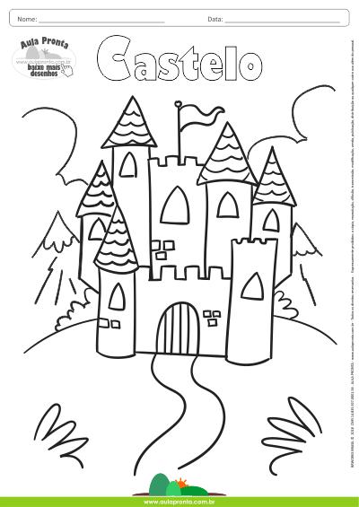 desenhos para colorir castelo aula pronta