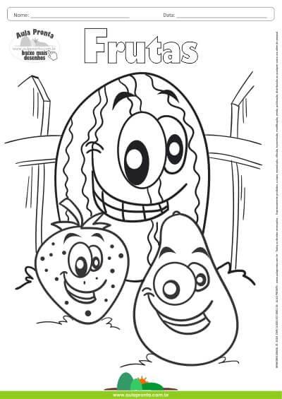 desenho para colorir frutas melancia morango e abacate aula