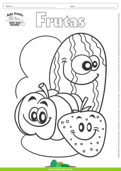 desenho para colorir frutas abóbora morango e melancia aula