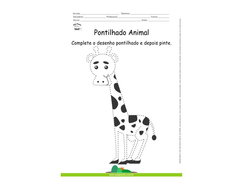 Desenho Para Colorir Pontilhado Girafa Aula Pronta