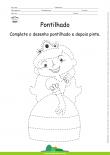 Desenho para Colorir – Pontilhado – Princesa