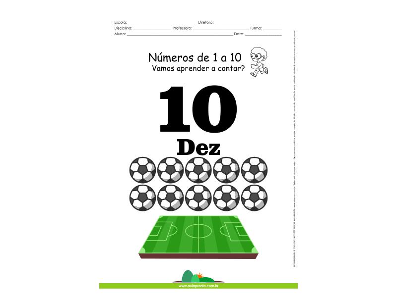 Números de 1 a 10 - folha 10