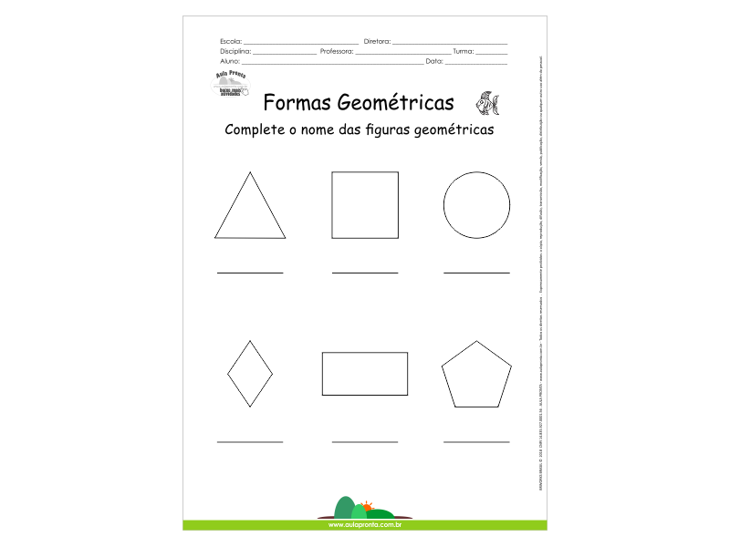 Formas Geométricas - Complete os Nomes