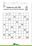 Números até 100 - Complete com os números faltantes