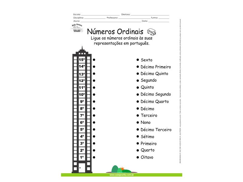 Números Ordinais - Ligue os números às suas representações em português