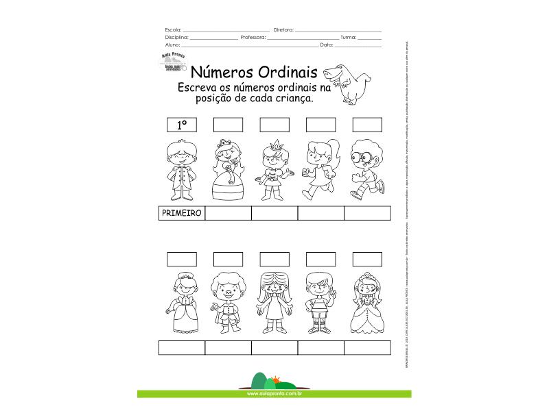 Atividade Numeros Ordinais Criancas