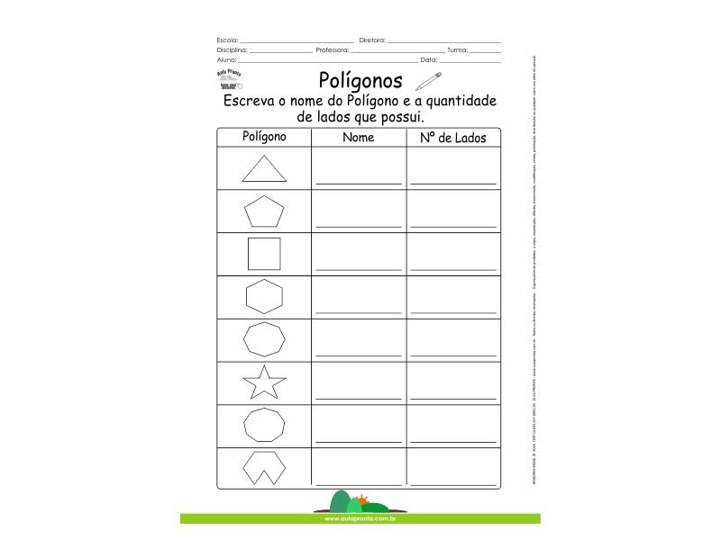 Polígonos - Qual o nome e a quantidade de lados