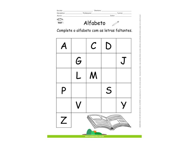 Alfabeto - Complete com as letras faltantes