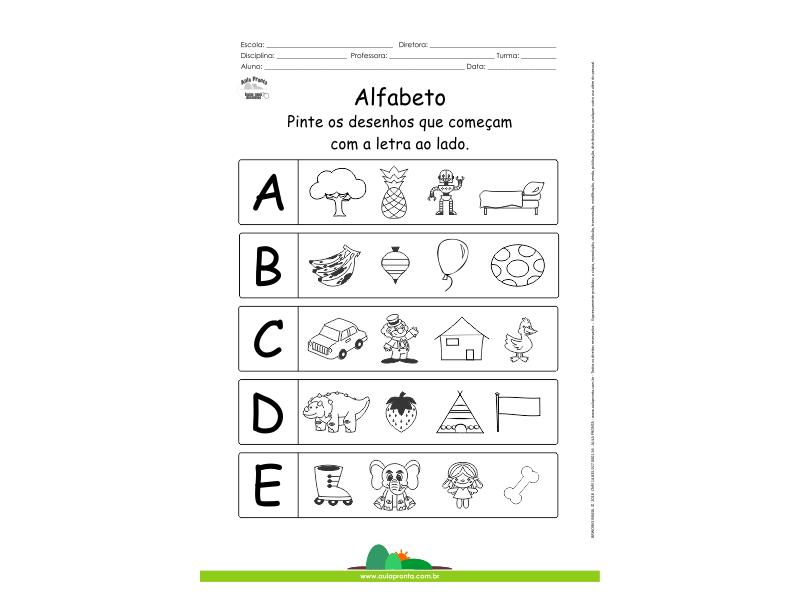 Alfabeto - Pinte os desenhos que começam com A, B, C, D e E