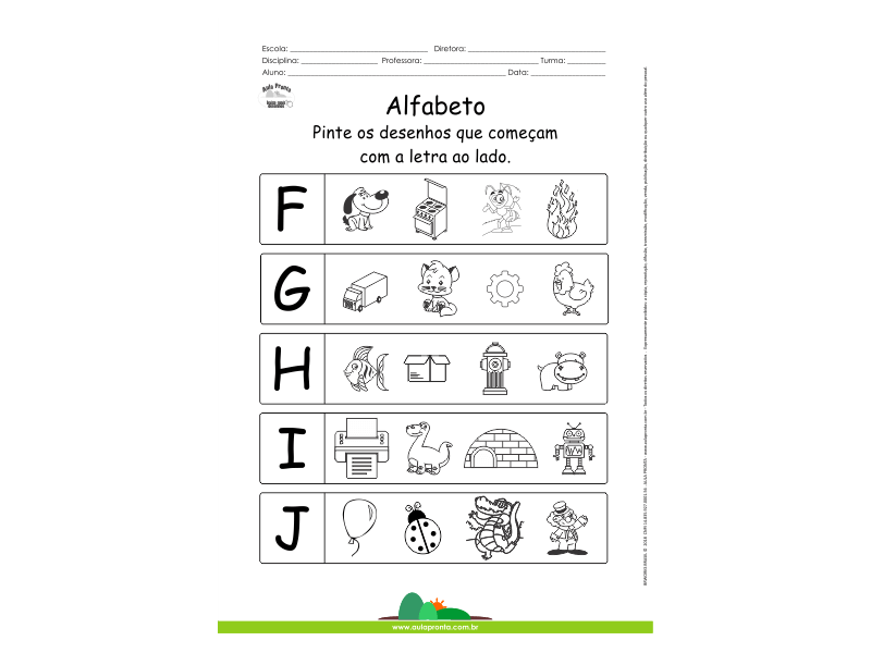 Alfabeto - Pinte os desenhos que começam com F, G, H, I e J