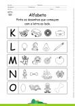 Alfabeto - Pinte os desenhos que começam com K, L, M, N e O