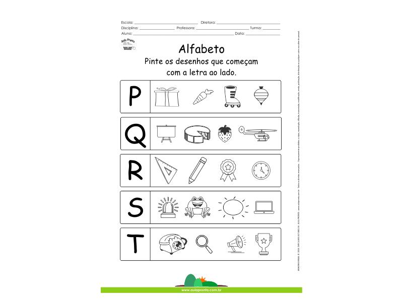 Alfabeto - Pinte os desenhos que começam com P, Q, R, S e T