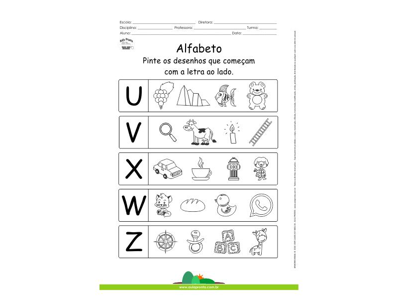 Alfabeto - Pinte os desenhos que começam com U, V, X, W e Z