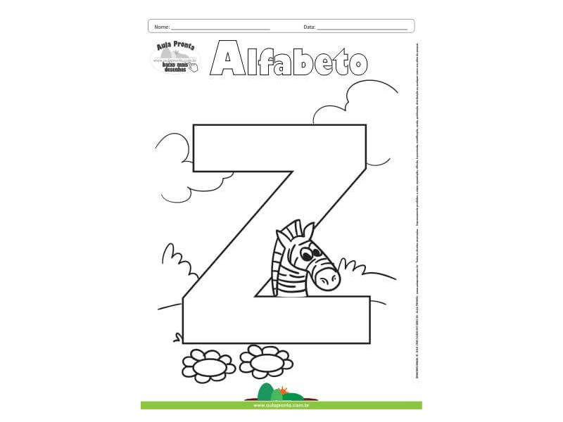 Desenho Para Colorir Alfabeto Letra Z Aula Pronta