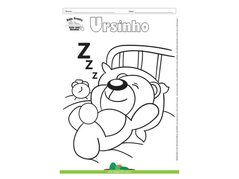 Desenho Para Colorir Fantasia Ursinho Aula Pronta