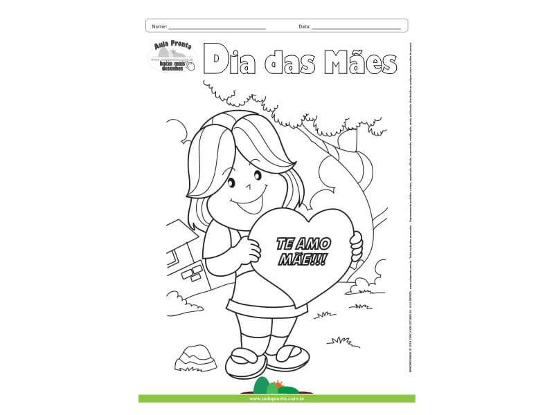Desenho Para Colorir Feriado Dia Das Maes Coracao De Mae