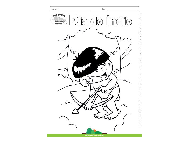 Desenho Para Colorir Feriado Dia Do Indio Aula Pronta