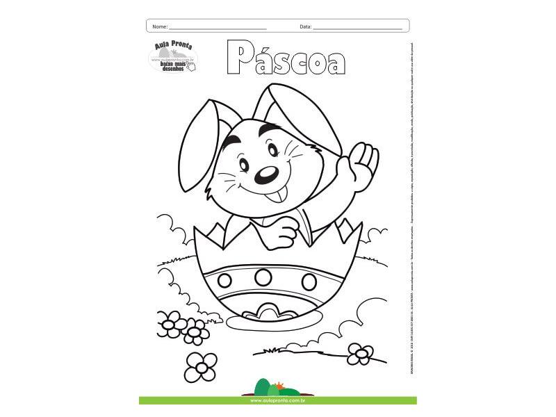 Desenho Para Colorir Feriado Pascoa Coelho Aula Pronta