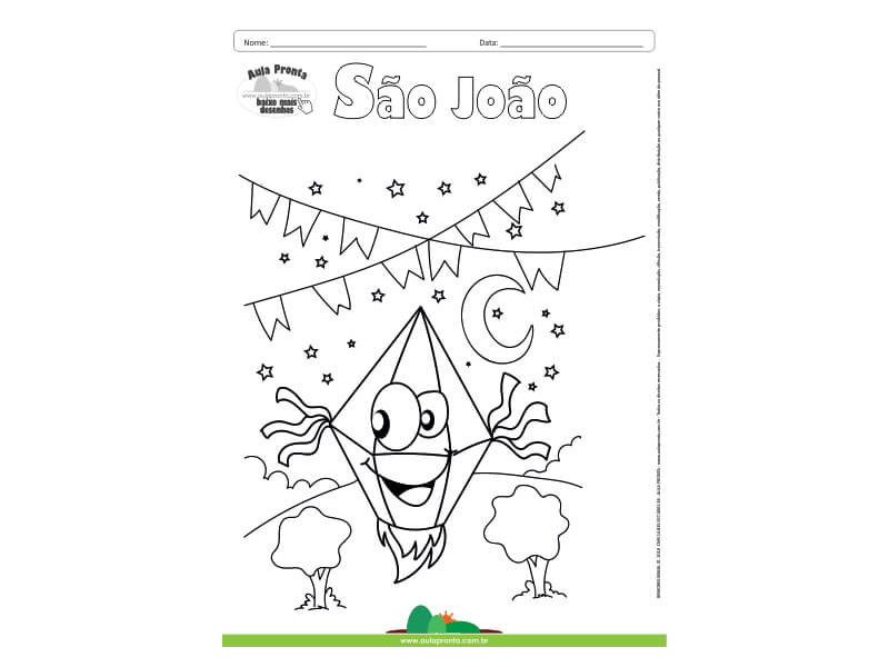 Desenho Para Colorir Feriado Festa Junina Sao Joao Balao