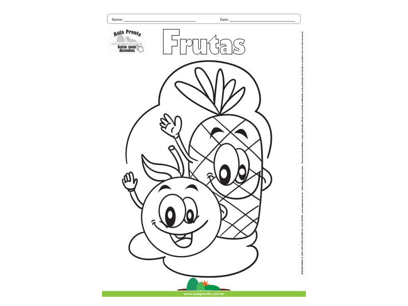 Desenho Para Colorir Frutas Abacaxi E Laranja Aula Pronta