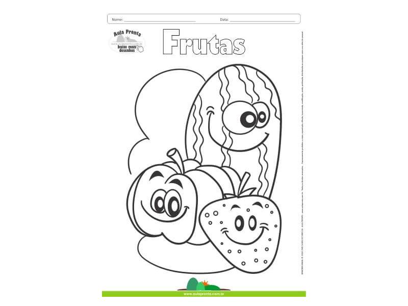 Desenho Para Colorir Frutas Abobora Morango E Melancia Aula