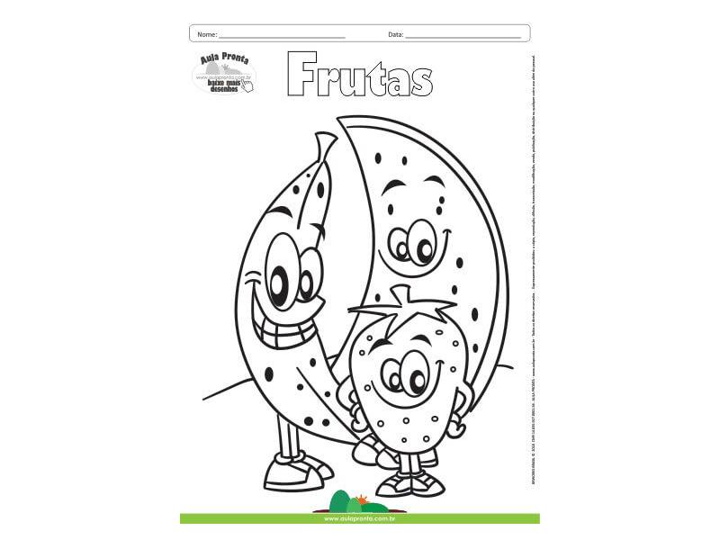 Desenho Para Colorir Frutas Melancia Morango E Banana Aula