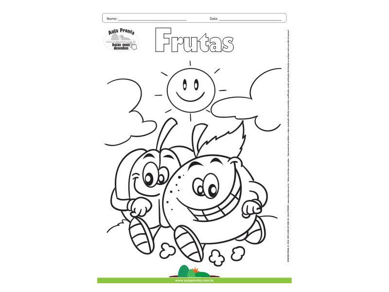 Desenho Para Colorir Frutas Laranja E Abobora Aula Pronta