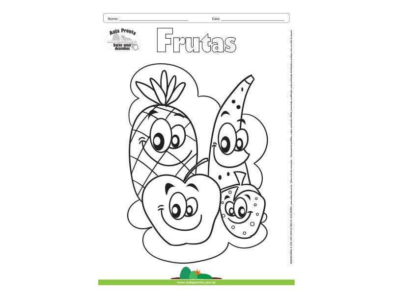 Desenho Para Colorir Frutas Banana Abacaxi Maca E Morango