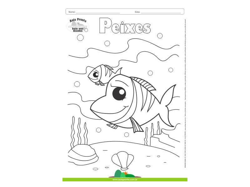 Desenhos Para Colorir Peixes Aula Pronta
