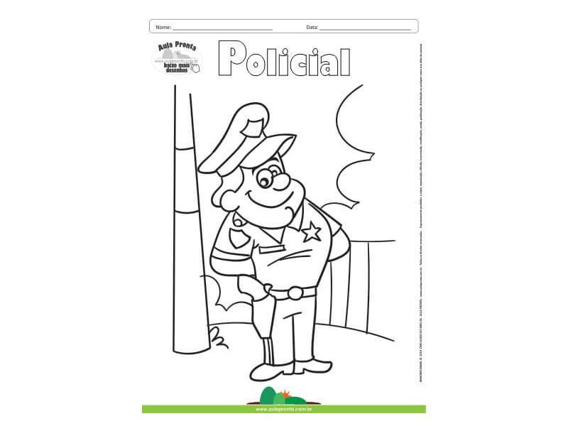 Desenho Para Colorir Profissao Policial Aula Pronta