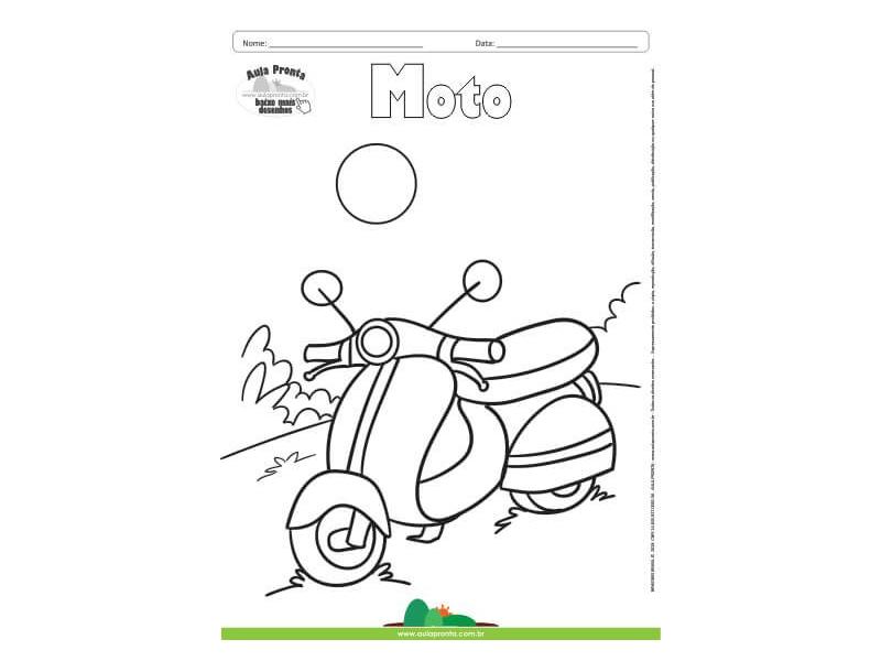 Desenho Para Colorir Transporte Moto Aula Pronta